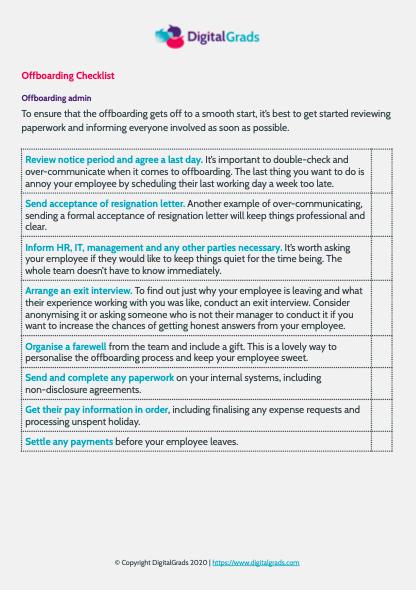 Offboarding checklist template