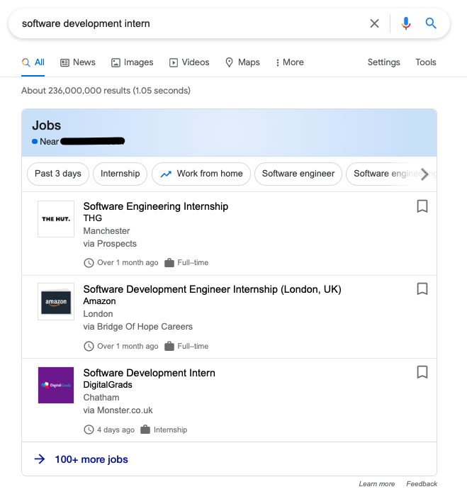 Job adverts in action on Google