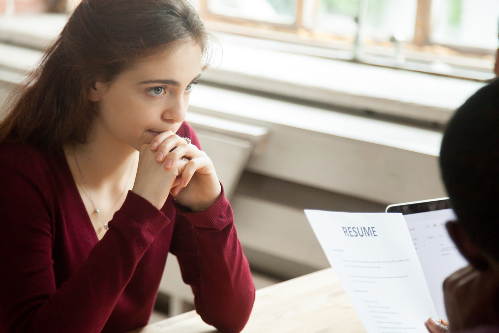 Nervous aspiring intern in an interview with employer