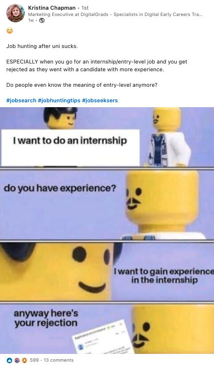 Social media post from employee example for employer branding strategy