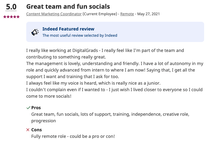 Employee review example