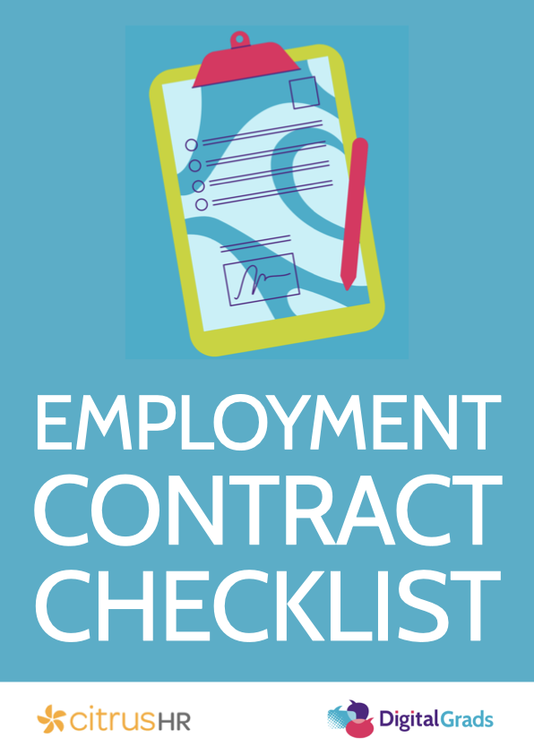Employment contract checklist cover image with clipboard and pen.