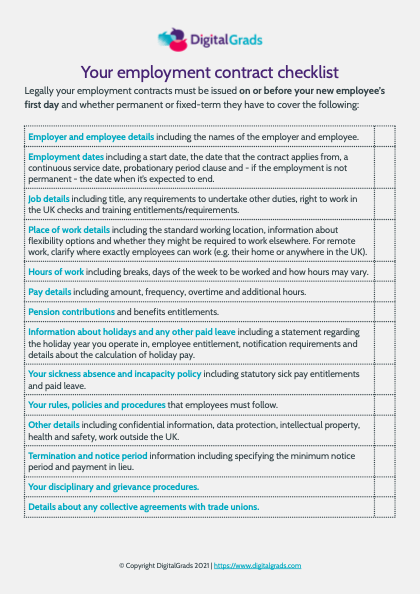 Employment contract checklist sample, featuring a detailed list of things to include in a contract.