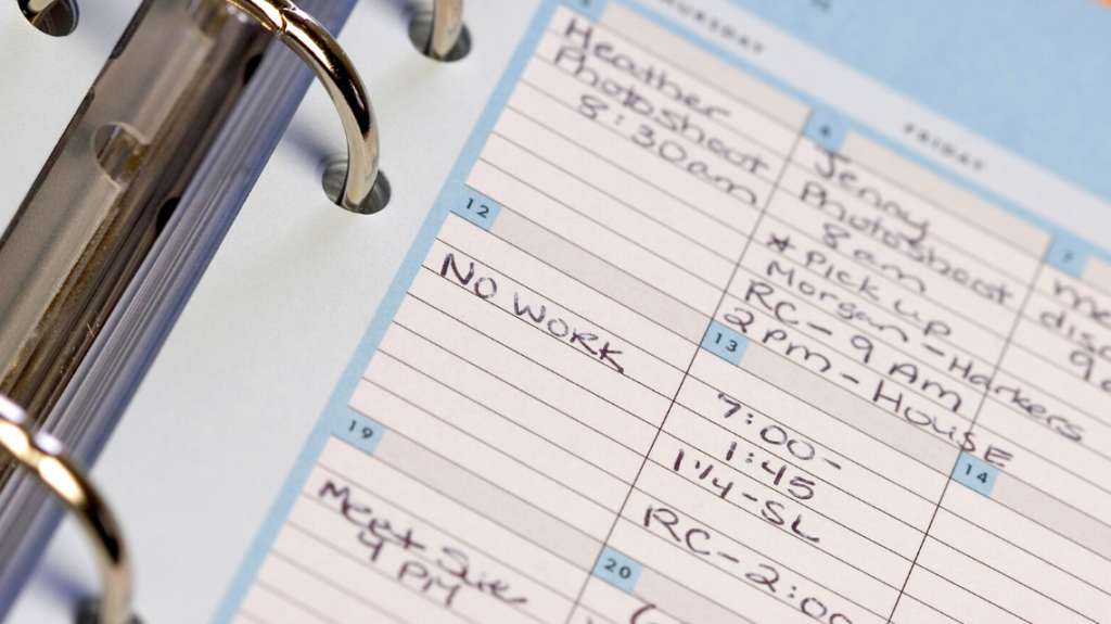 Calendar with a note showing 'no work'